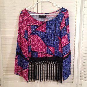 MINKPINK S Pink Blue Fringed Bell Sleeve Crop Top
